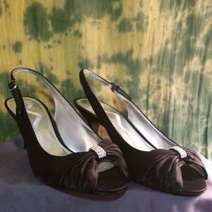 Nina Shoes - Nina Corabel Black Satin Peep Toe Pumps Heels